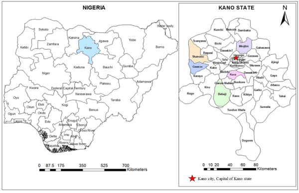 A geographic map showing the location of Kano State and ...