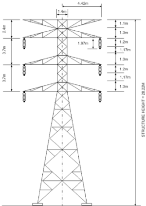 132 kV tower dimension   Download Scientific Diagram