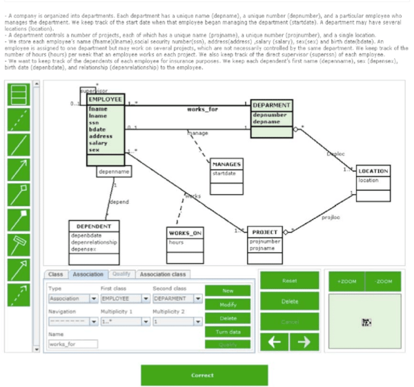 Student interface designed for entering a UML class ...
