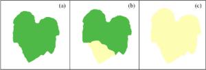 ( a ) Pumpkin leaf with healthy green colour ( b