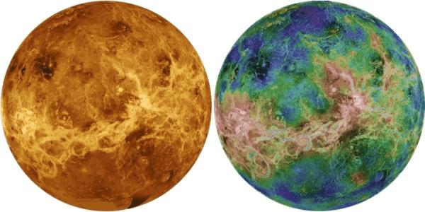 2. Radar images of Venus in true colour (left) and false ...