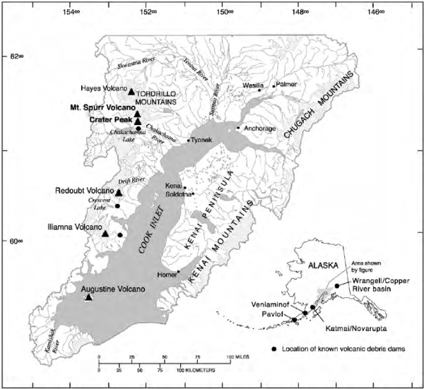 Map showing the location of the Spurr Volcano and Crater ...