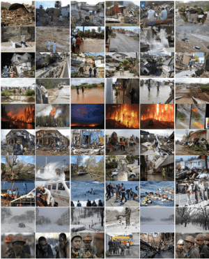 A collection of sample images related to natural disasters