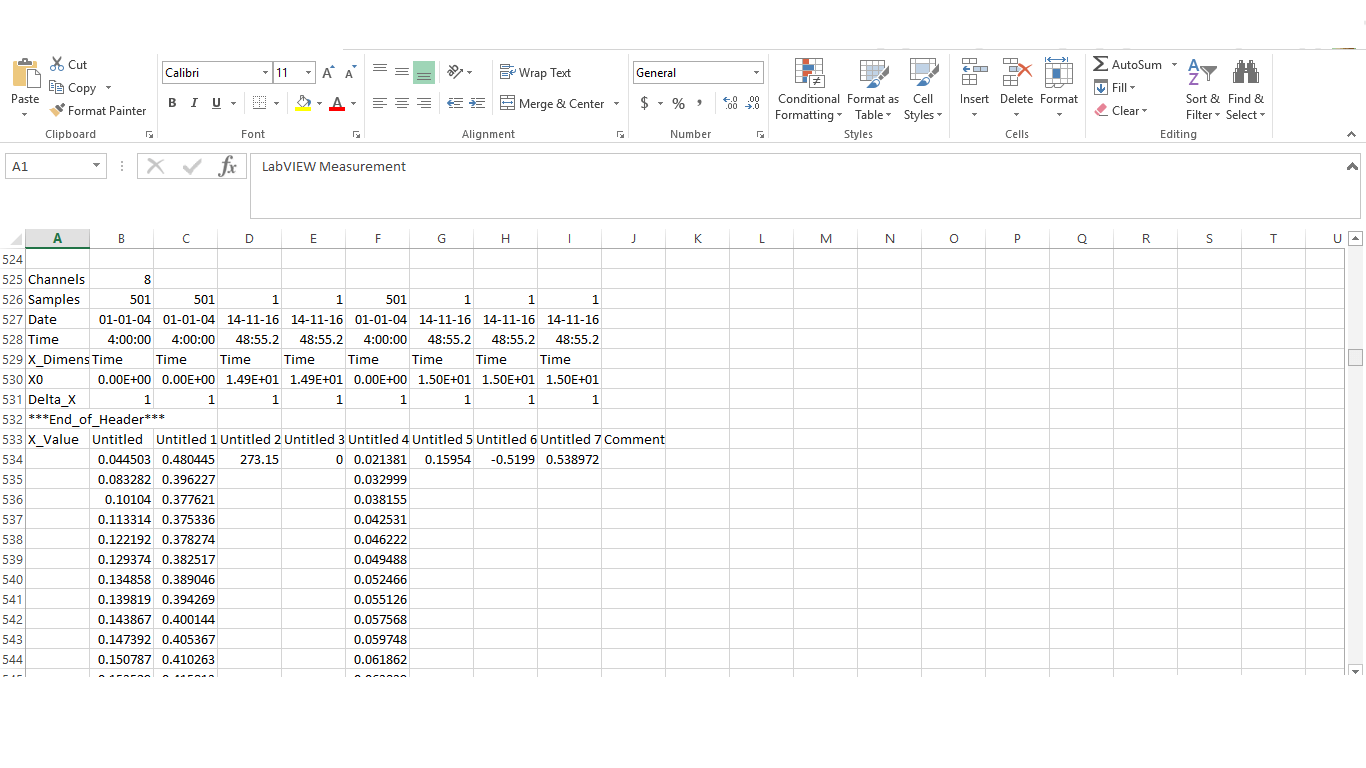 Export Data To A Spreadsheet Using Write To Measurement File Function In Labview