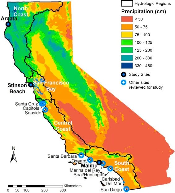 Map of California showing the 4 coastal hydrologic regions (HRs), study sites and other locations referenced in the text, and average annual precipitation (1981–2010) for the State (https://earthworks.stanford.edu/catalog/stanford-td754wr4701). San Francisco Bay is outlined in blue within its HR.