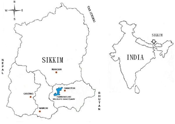 Location map of the Fambonglho Wildlife Sanctuary (east ...