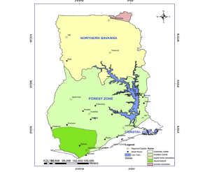 Map of Ghana showing the Geographical Regions and vegetative cover | Download Scientific Diagram