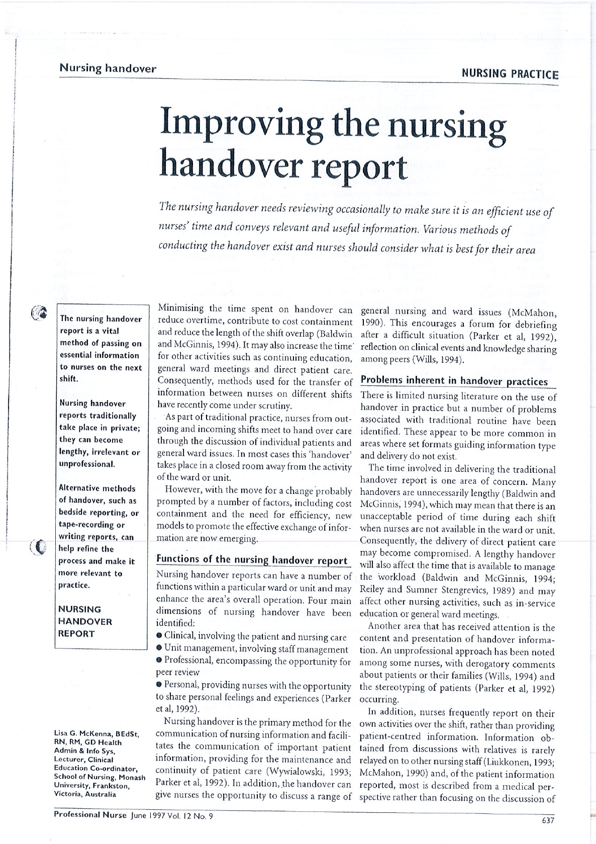 Improving The Nursing Handover Report Download Available