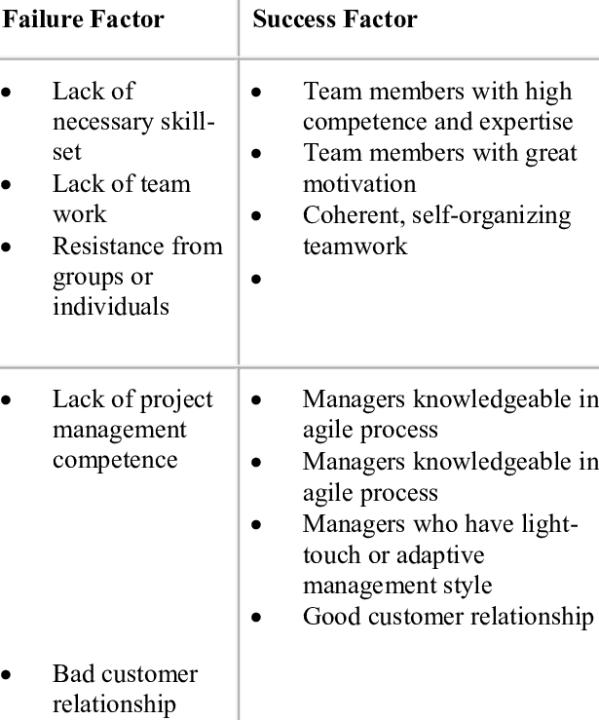 Success and failure factors for Agile Projects from the ...