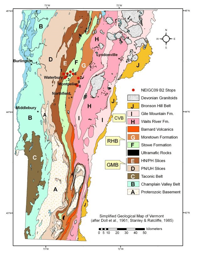 Memberships available for purchase at the following locations: Simplified Geology Of Vermont Showing Locations Of Stops For This Trip Download Scientific Diagram