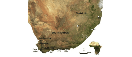 Map of South Africa indicating archaeological contexts referred to     Map of South Africa indicating archaeological contexts referred to in       Download Scientific Diagram