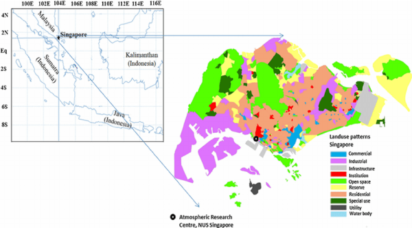 A map showing the study area Singapore and its neighboring ...