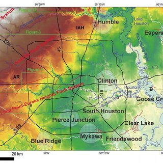 Houston area map showing active surface faults interpreted on lidar     Houston area map showing active surface faults interpreted on lidar imagery  and the locations of salt