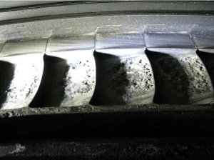 Corrosion on the diaphragm blades of a geothermal steam