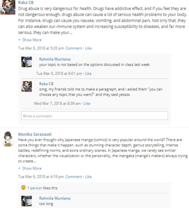 A screenshot of online feedback on Schoology  Download Scientific