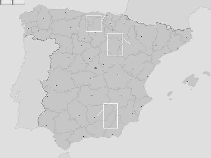 Map of Spain indicating the geographic origin of the epidemic     Map of Spain indicating the geographic origin of the epidemic episodes of  Abortusovis serotype in ovine