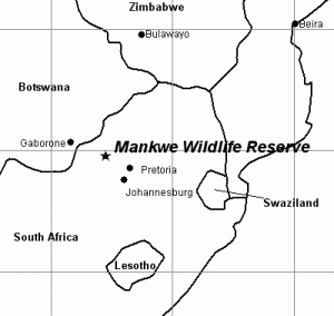 Map of southern Africa showing the location of Mankwe