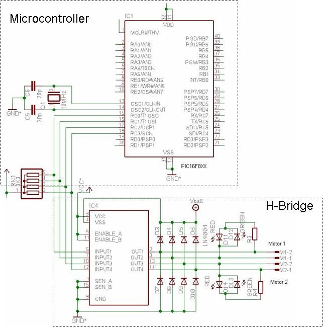 the schematic diagram of the motor controller board is shown