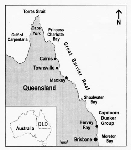 Map of north east Australia, detailing main locations ...