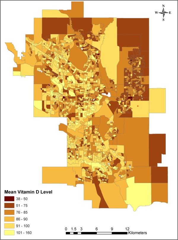 Mean vitamin D levels in Calgary Alberta. Map of the city ...