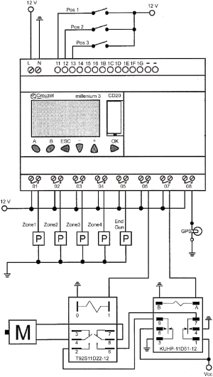 PLC wiring diagram (P = pump; M = motor: T92S11D2212 and