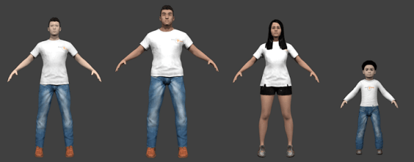 Sample clothing given by the MakeHuman software to the 3D ...