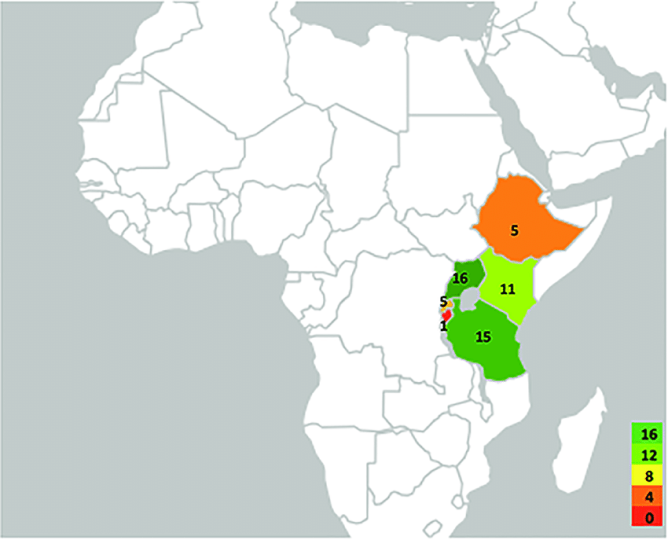 Geographical map of the East African Community indicating the number     Geographical map of the East African Community indicating the number of  studies conducted per country