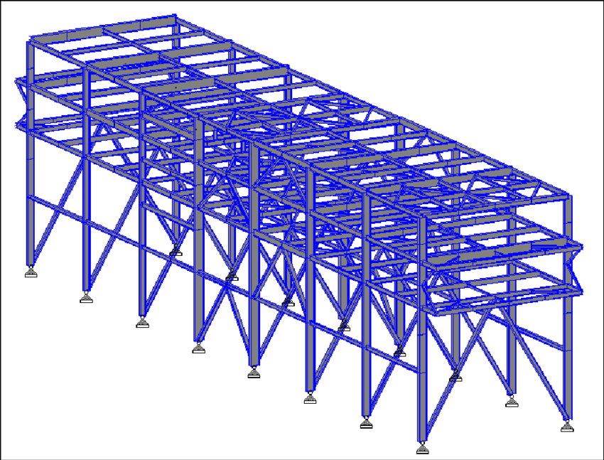 three dimensional view of pipe rack