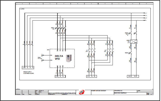 electrical single line diagram of vfd connections