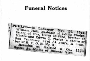 San Francisco Obituary William Phelps