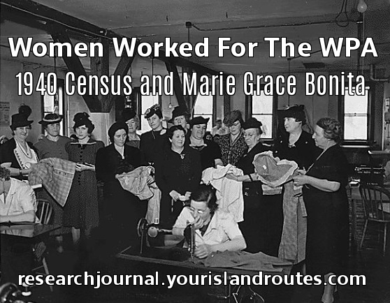 women working for wpa sewing project