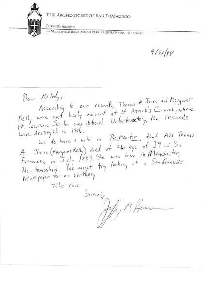 letter archdiocese san francisco ancestor birth