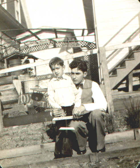 1929 uncle and nephew with plane