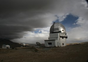 Dome of the new telescope coming up at Hanle. The Himalayan Chandra Telescope is in the background.