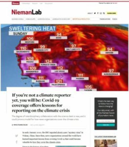 Image showing Nieman Lab website with climate reporter article