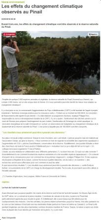 effets du changement climatique observés au Pinail, Nouvelle République