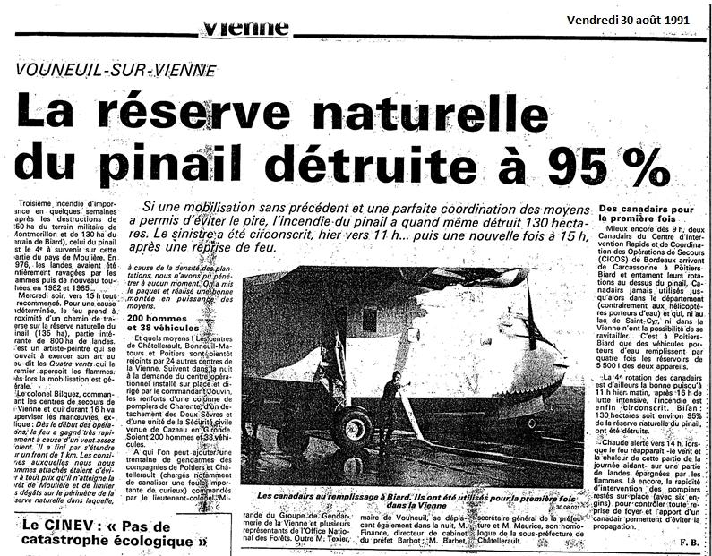 Article de presse paru lors de l'incendie de 1991 sur le Pinail