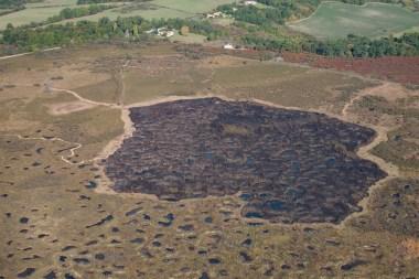 Vue aérienne du secteur brûlé en 2017 sur la Réserve du Pinail © Yann Sellier