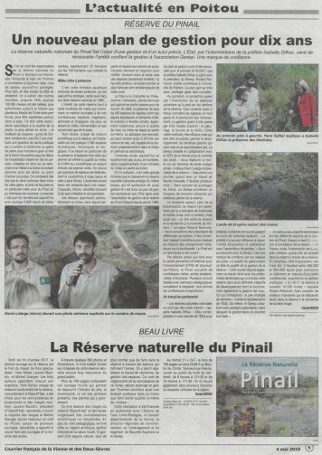 """Article de presse """"Plan de gestion et livre de la Réserve naturelle du Pinail"""""""
