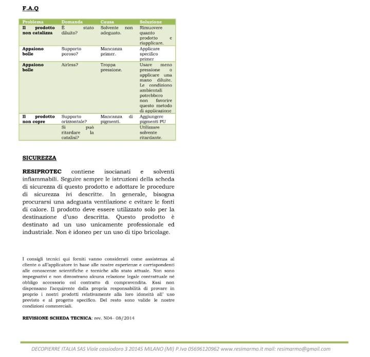 Specificazioni RESIPROTEC (continua 3).