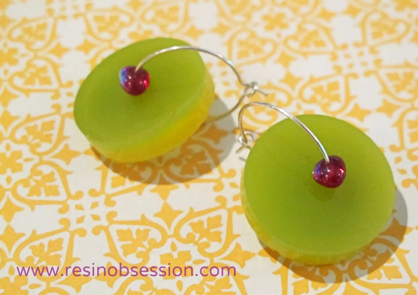 yellow green bi color resin earrings