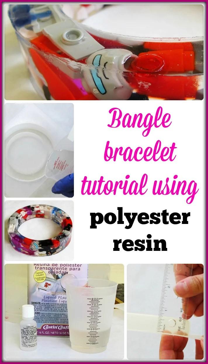 Bangle bracelet tutorial using polyester casting resin
