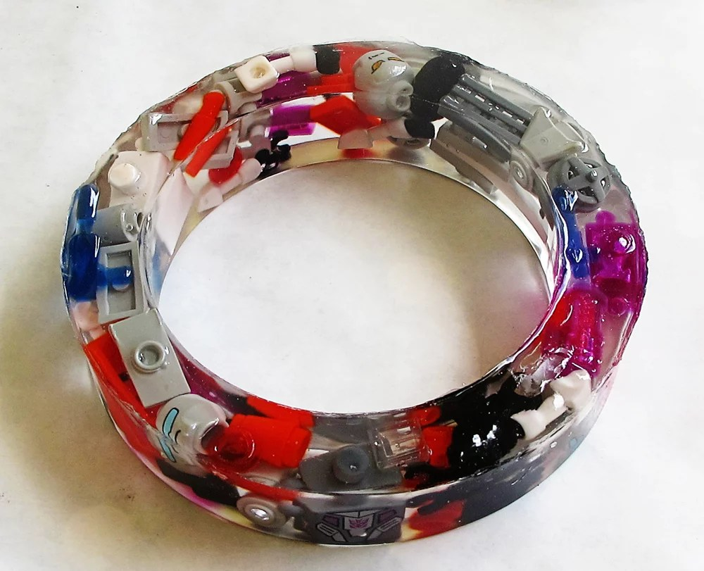 lego piece resin bracelet