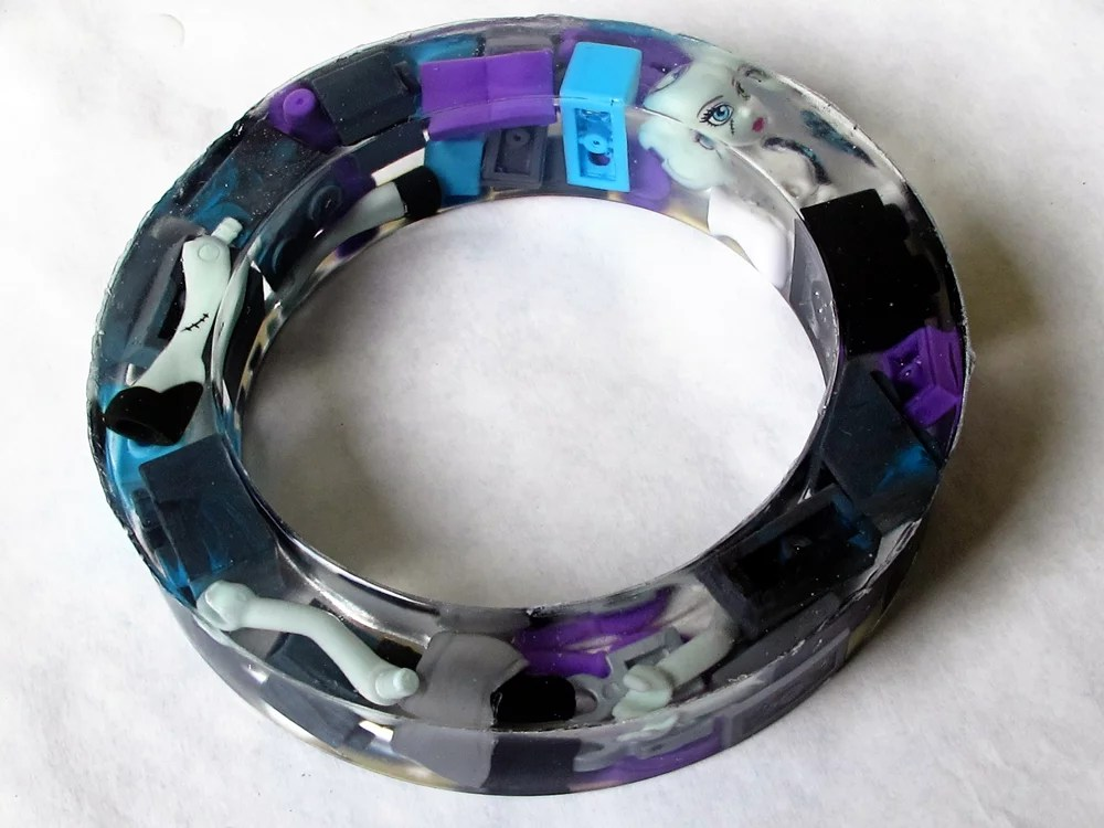 resin bangle bracelet with monster high doll pieces