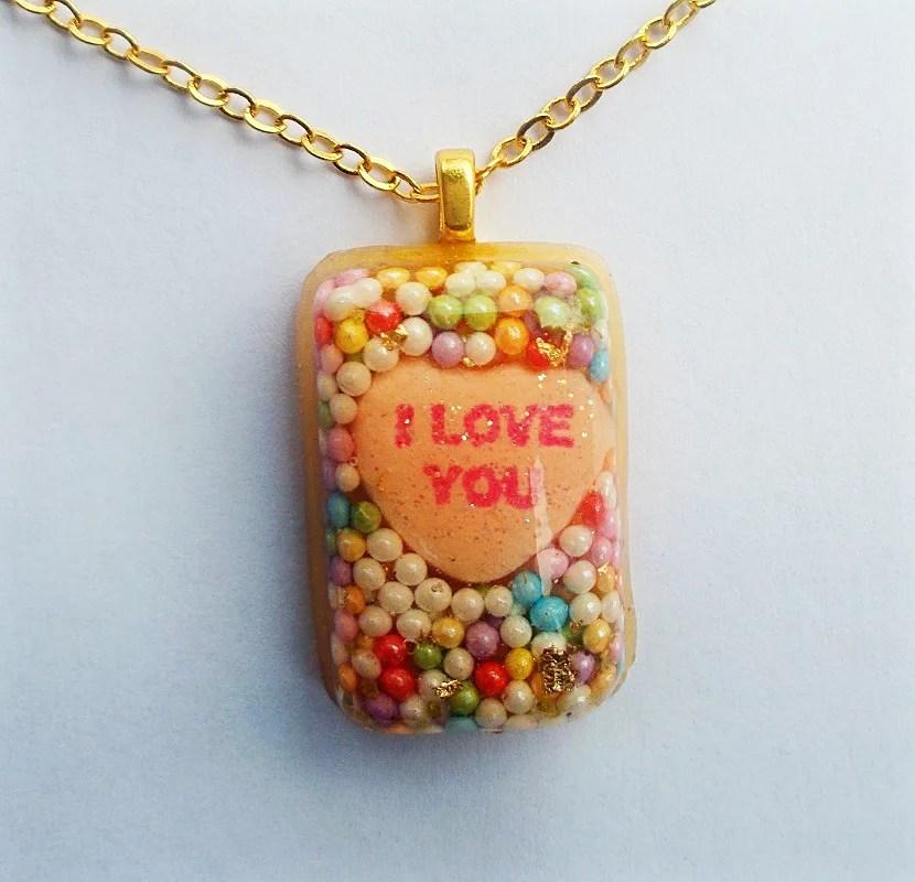 I Love you resin pendant