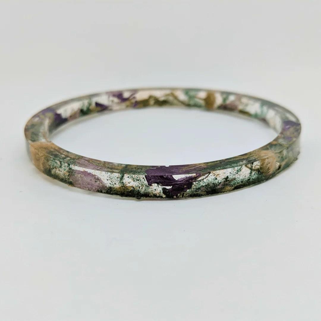 resin and flower bangle bracelet