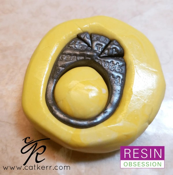 polymer clay ring in silicone putty mold
