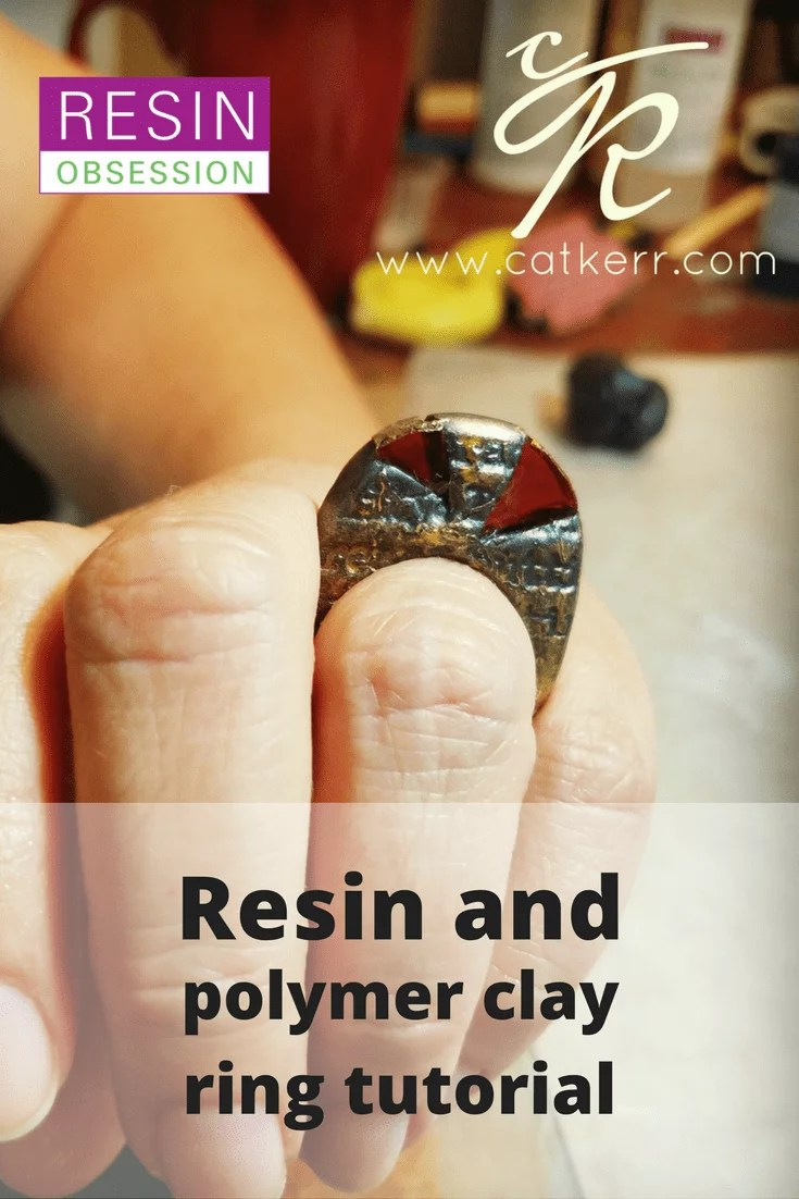 resin and polymer clay ring tutorial