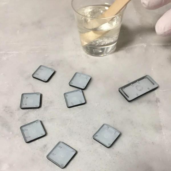 preparing back of keyboard keys for resin