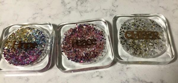 DIY sparkly resin coasters